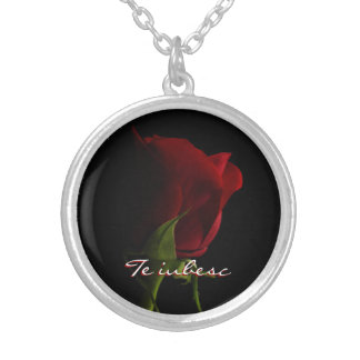 Red Rose Photo Necklace-Te iubesc Silver Plated Necklace