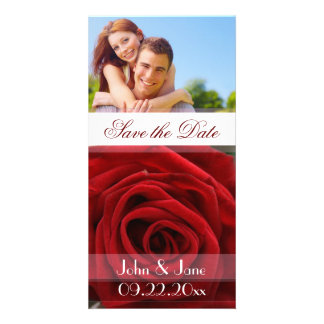 """Red Rose  /photo  """"Save the Date"""" Custom Photo Card"""