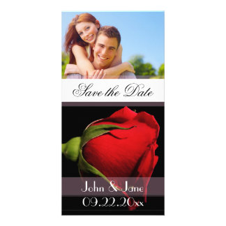 """Red Rose  /photo  """"Save the Date"""" Photo Card Template"""