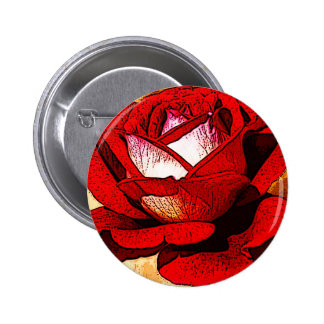 Red Rose Pinback Button