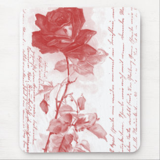 Red Rose Postcard Design Mouse Pad
