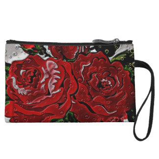 Red Rose Rain Wristlet