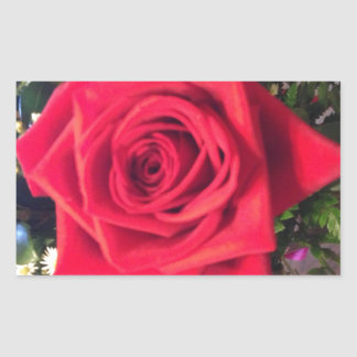 Red Rose Rectangular Sticker