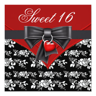 Red Rose Red Black White Sweet 16 Birthday Party Invitation