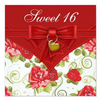 Red Rose Red Gold Sweet Sixteen Birthday Party Card