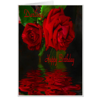 Red Rose Refelcted-Happy Birthday Darling Greeting Card