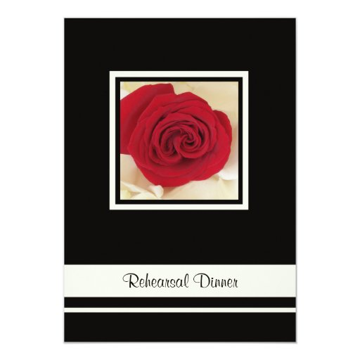 Red Rose Rehearsal Dinner Invitation