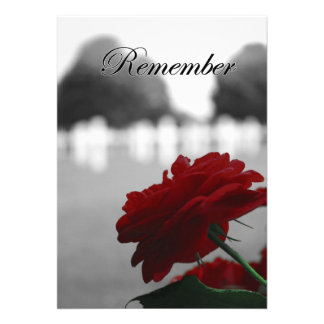 Red Rose Remember Memorial Day Custom Invites