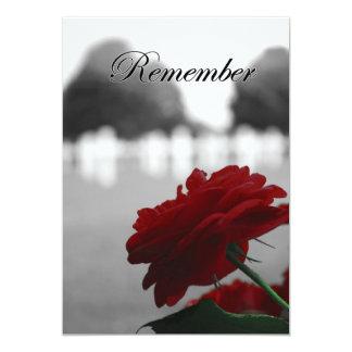 "Red Rose Remember Memorial Day 5"" X 7"" Invitation Card"