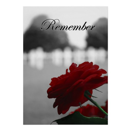 Red Rose Remember Memorial Day Poster
