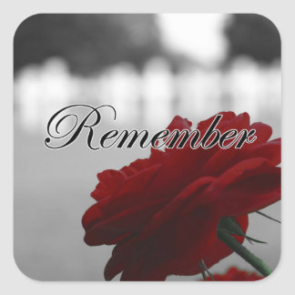 Red Rose Remember Memorial Day Square Sticker