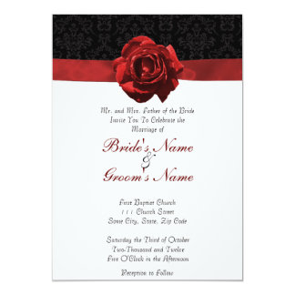 Red Rose & Ribbon 5x7 Paper Invitation Card