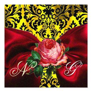 RED ROSE RIBBON GOLD YELLOW BLACK DAMASK MONOGRAM CARD