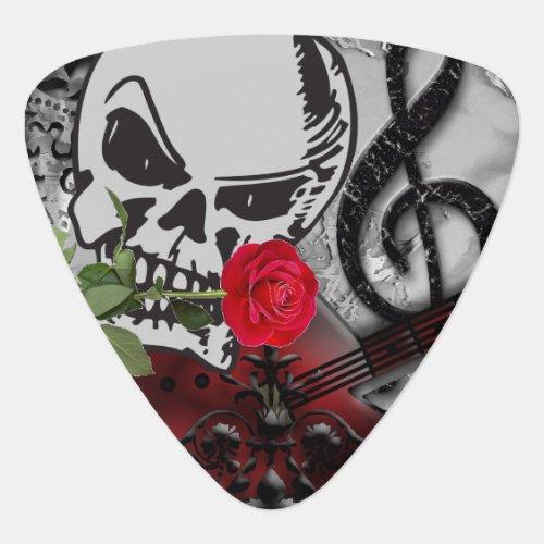 Red Rose Rock Skull Head Guitar Pick