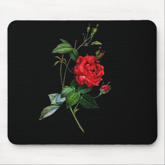 Red rose, Rosa inermis, P.J.Redoute Mouse Pad