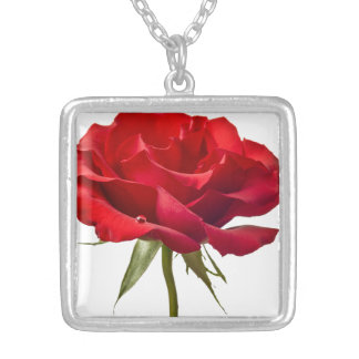 Red Rose - Roses Customized Template Square Pendant Necklace