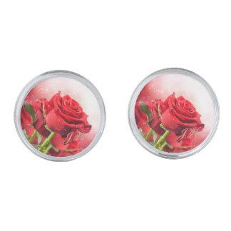 Red Rose Round Cuff Links-w/Monogram Silver Cufflinks