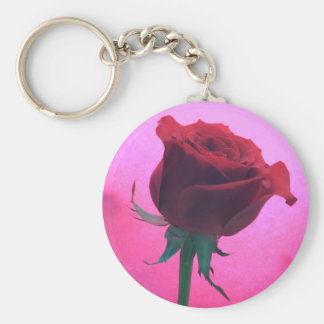 Red Rose Round Key Chain