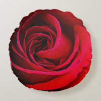 Red Rose Round Throw Pillow