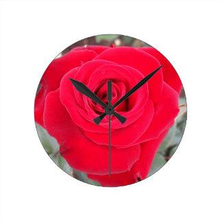 Red Rose Round Wallclock