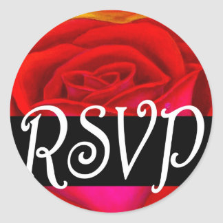Red Rose RSVP Painting Art - Multi Stickers
