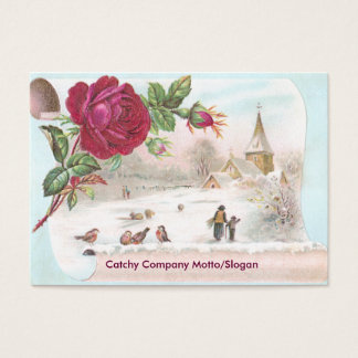 Red Rose Scroll Victorian Trade Card