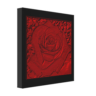 "Red Rose ""Sculpture"" Wrapped Canvas Print"