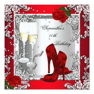 Red Rose Silver High Heel Shoes Any Age Party Card