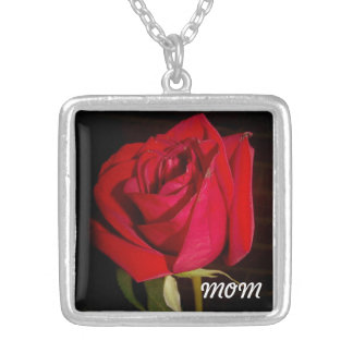 Red Rose Silver Plated Necklace