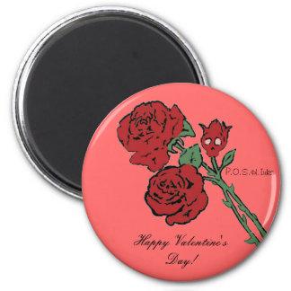 Red Rose Skull Form Fridge Magnets