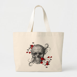 Red Rose Skull Large Tote Bag