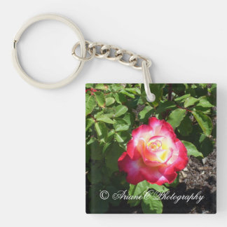 Red Rose square keychain