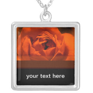 Red Rose Square Pendant Necklace