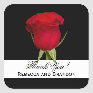 Red Rose Square Wedding Thank You Stickers