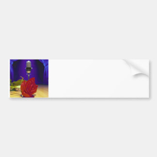 Red Rose, Stage, Retro Mic & Curtains Bumper Sticker