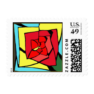 Red Rose Stained Glass Postage Stamps