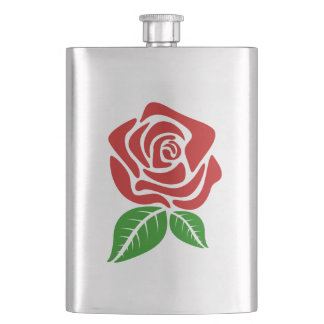 Red Rose Stamp 7 Flask