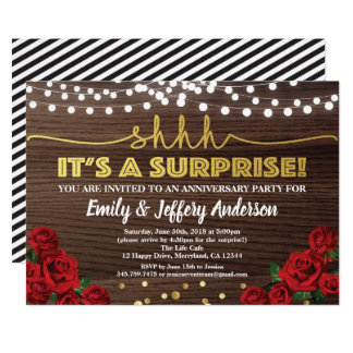 Red rose surprise anniversary party invitation