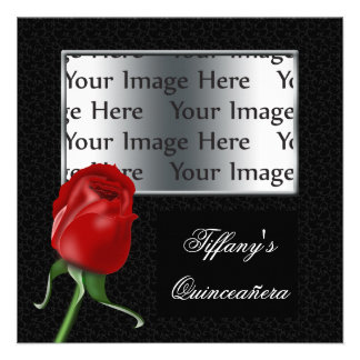 red rose Sweet Sixteen or quinceañera photo invite