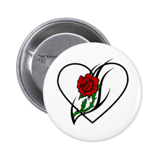 Red Rose Tattoo 2 Inch Round Button