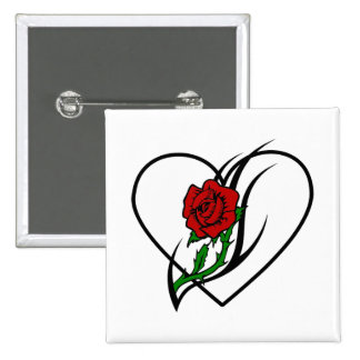 Red Rose Tattoo 2 Inch Square Button