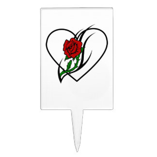 Red Rose Tattoo Cake Pick