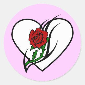 Red Rose Tattoo Classic Round Sticker