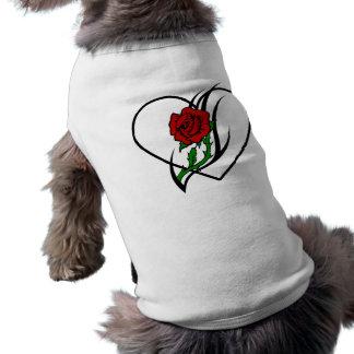 Red Rose Tattoo Dog T Shirt