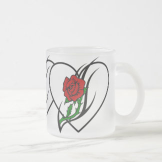 Red Rose Tattoo Frosted Glass Coffee Mug