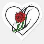 Red Rose Tattoo Heart Sticker