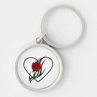 Red Rose Tattoo Keychain