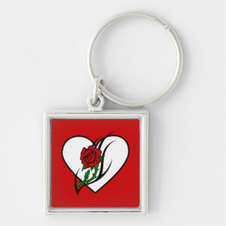 Red Rose Tattoo Keychain