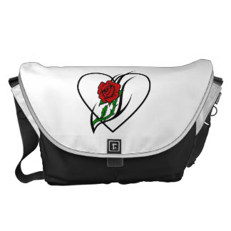 Red Rose Tattoo Messenger Bag