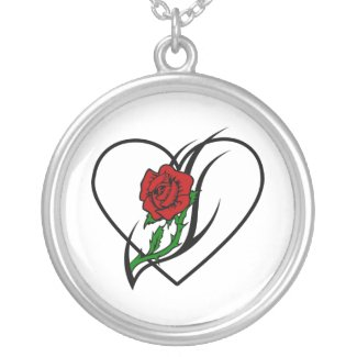 Red Rose Heart Tattoo Necklace
